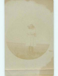Old Faded & Damaged rppc - GIRL WITH BOW IN HAIR Keystone NE t3050