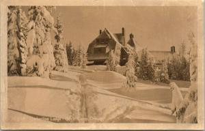 Government Gov't Camp Oregon~Timberline Lodge in Deep Snow~1930s RPPC