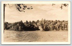 McNaughton WI~Long Lake Panorama~Ed Trying to Get A Big Fish~RPPC 1940s Kerlu
