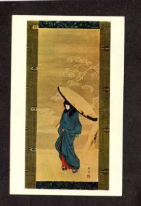 Painting Art Japan Japanese Hiroshige Girl Walking in the Snow Umbrella