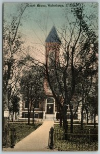 Watertown SD~Handcolored~Old Courthouse~Wrought-Iron Fence c1910 Replaced c1929