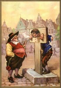 Troost Smoking Tobacco Man in Stocks Torture MacCabre Punishment Postcard