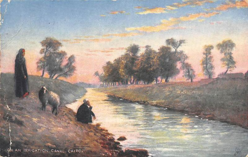 Picturesque Egypt Cairo On an Irrigation Canal, Tuck Oilette 1905