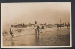 Unlocated Postcard- RP of Seaside Scene - Paddling - Boat Called Gee-Wizz RS8803