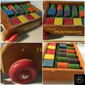 Original Vintage Colorol Playskool Wagon Wood 18 Pieces Building Toys SKU080-047