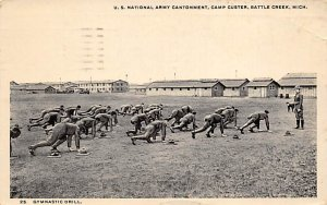 Military Post Card US National Army Cantonment at Camp Custer Battle Creek, M...
