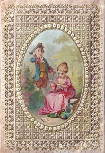 Embroidery Soap Hand Craft ed Antique Doiley Gold Purse Postcard