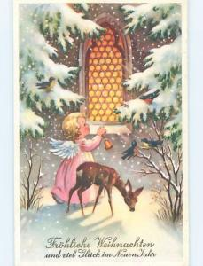 1958 Christmas foreign DEER BY CUTE ANGEL LOOKING INTO CHURCH WINDOW HL8969