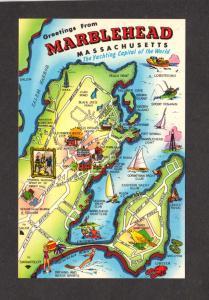 MA Greetings MARBLEHEAD MASSACHUSETTS MASS Map Postcard