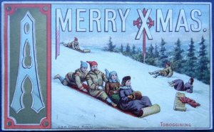 RARE c1878 Canadian Christmas Postcard TOBOGGINING by G.& W. Clarke of Montreal