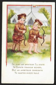 Cupid 'Soldier' at Military Camp 'Im Just an Amateur...' Unused c1905