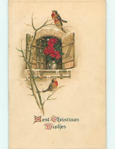 Divided-Back christmas BIRDS ON BRANCH BY POINSETTIA FLOWER r4658