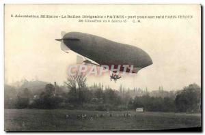 Postcard Old Jet Aviation Zeppelin Airship share Patrie for his raid Paris Ve...