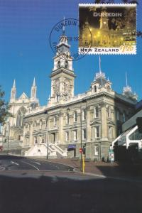 Town Hall Dunedin New Zealand Stamp Postcard Rare First Day Cover