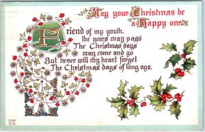 ARTS & CRAFTS STYLE Greeting  MAY YOUR CHRISTMAS   1913  Postcard