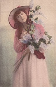 TUCK #4261;  Give Me Your Smile, Woman holding bouquet of snap dragons, wea...