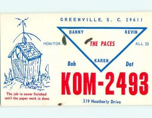 comic - QSL HAM RADIO CARD Greenville South Carolina SC t0809
