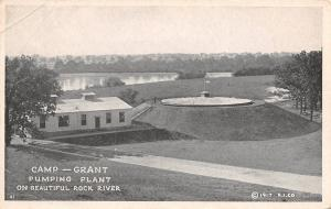 Rockford Illinois~Camp Grant Army Post~Pumping Plant~Rock River~1917 B&W PC