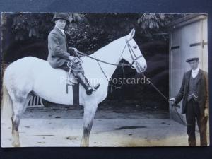 STABLE HAND & GENTLEMAN ON WHITE HORSE early RP Postcard