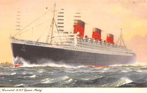 White Star Line Cunard Ship Post Card, Old Vintage Antique Postcard RMS Queen...