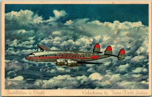 1950 TWA Trans World Airlines Postcard Constellation in Flight South Africa