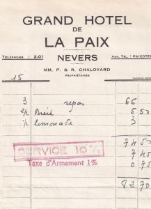Nevers Grand Hotel De La Paix 1939 French WW2 Receipt