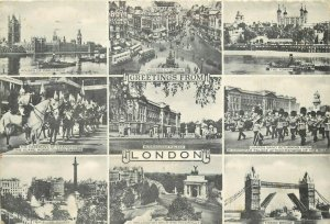 Mills Retail Store London England UK pm 1956 multiview Big Ben Postcard