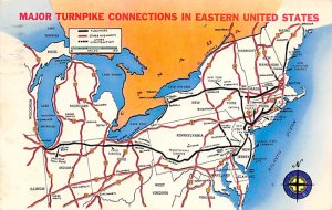 Maps Major Turnpike connections in Eastern United States USA 1960