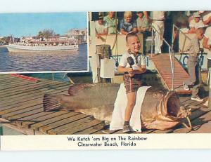 Pre-1980 FISHING - BOY SITS ON GIANT FISH CAUGHT Clearwater Beach FL hp5131