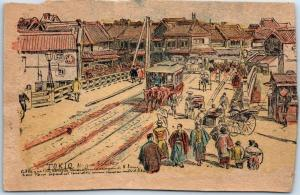 1900s Tokyo JAPAN Postcard TOKIO Street Scene Trolley French Postcard *TRIMMED