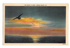 Ocean at Dawn Gulls Flying Virginia Beach VA Vintage 1938 Linen Postcard