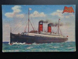 Isle of Man FERRY R.M.S. BEN-MY-CHEE Sunk in 1917 WW1 Packet Co. c1918 Postcard
