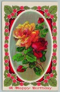 Flowers Greetings~Yellow and Red Roses~Flower Border~c1910 Gel Postcard