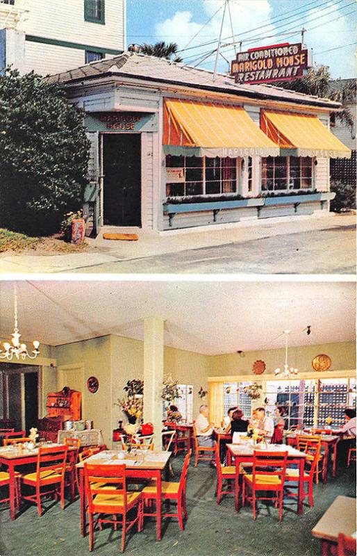 Daytona Beach FL Marigold House Drive-In Restaurant Duo View Old Cars Postcard