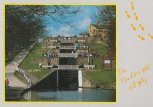 The Five 5 Rise Locks Bingley Bradford Rare 1980s Postcard