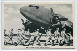Paratroopers Board US Army Transport Plane Military postcard