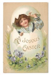 Joyous Easter Girl Hatches from Egg Violets Vintage Embossed 1909 Postcard