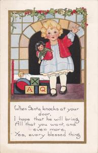 Girl holding doll waiting for Santa, blocks, ball, Holly, PU-1924