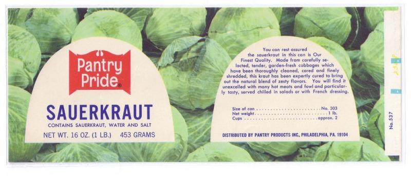 Pantry Pride Sauerkraut Vintage Can Label Philadelphia PA
