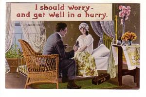Man Feeding Woman Medicine in Bed, I Should Worry, Samson Brothers