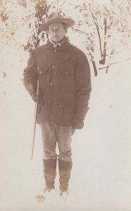 RP: Hunter with a gun in Winter , Canada , 00-10s