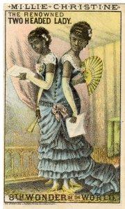 SIAMESE TWINS, MILLIE-CHRISTINE MCCOY, Victorian Trade Card, 1880s