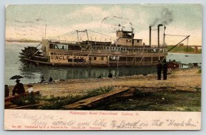 Quincy Illinois~Mississippi River Steamboat~Steamer Uncle Sam~Boat Landing~1906