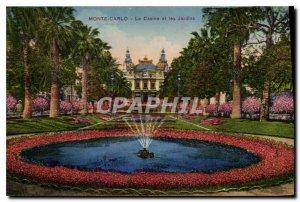 Old Postcard Monte Carlo Casino and Gardens