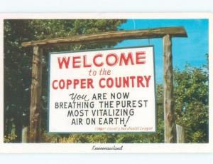 Pre-1980 VINTAGE SIGN - WELCOME TO COPPER COUNTRY Keweenaw County MI E6413