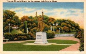 Maine Bangor Veterans Memorial Statue On Norumbega Mall 1951