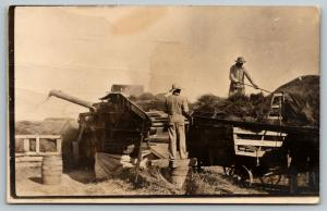Real Photo Postcard~Farmers Threshing Close Up~See my Back Face is Dirty~c1908