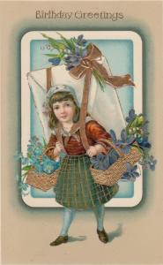 BIRTHDAY ; Girl carrying present & baskets of flowers , 00-10s