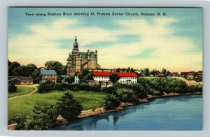 Nashua NH-New Hampshire, St Francis Xavier Church, Linen Postcard