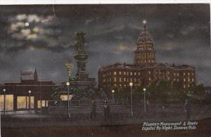 Colorado Denver Pioneer Monument & State Capitol By Night 1915